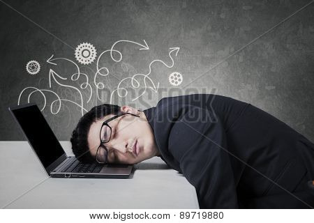 Stressful Manager Sleeping On Laptop
