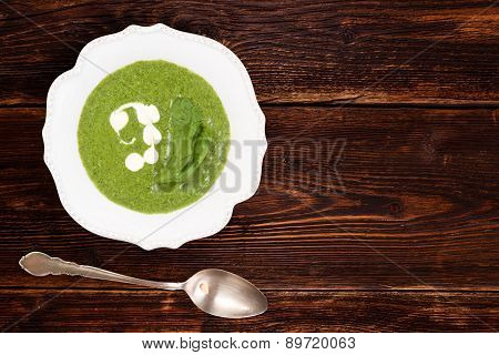 Spinach Soup Background With Copy Space.
