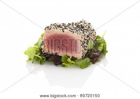 Delicious Tuna Steak On Green Salad