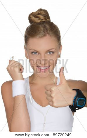 Happy Woman With Headphones And Clock