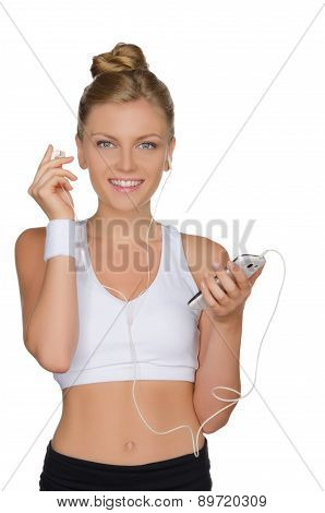 Sports Woman With Headphones And Phone