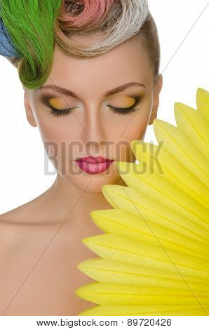Portrait Of Charming Woman With Bright Makeup