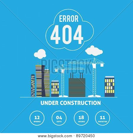 Error 404 Site Under Construction Vector page concept