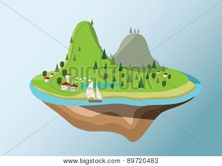 Vector illustration of flying island with cartoon houses and trees
