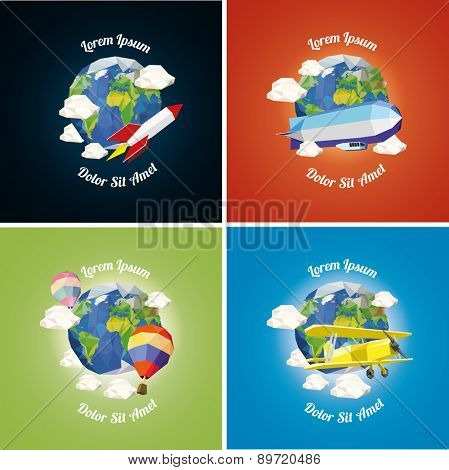 Low poly air crafts near earth with clouds. vector illustration set