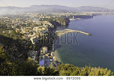 Beautiful View Of Sorrento In Foggy Morning