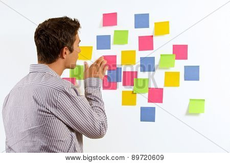 Businessman sticking sticky notes on wall