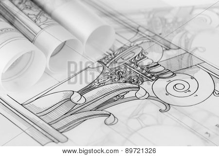 rolls of architecture blueprints & drawings Composite architectural order