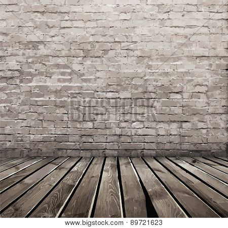 old room with brick wall, vector