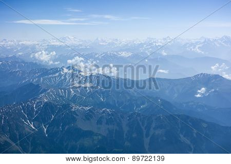 Aerial View Of Himalaya Range Above India