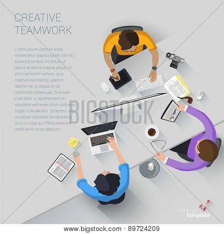 Flat design creative office workspace. Vector template.