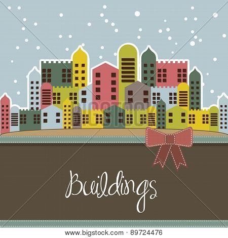 Snowing Buildings Card Vintage Style Vector Illustration