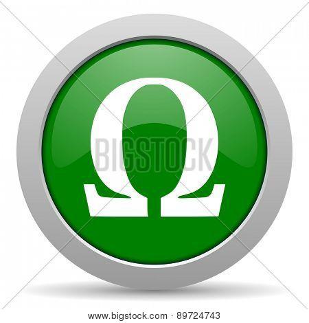 omega green glossy web icon