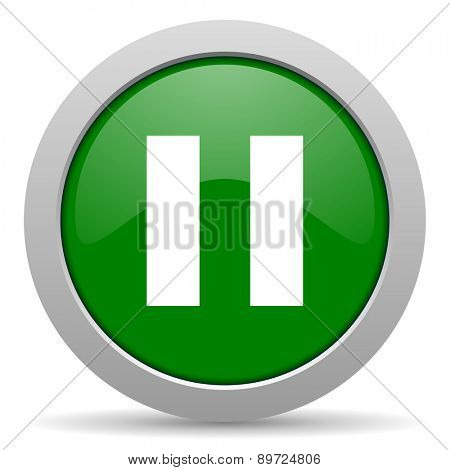 pause green glossy web icon