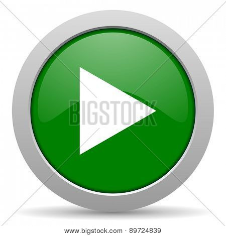 play green glossy web icon
