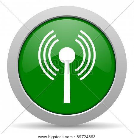wifi green glossy web icon