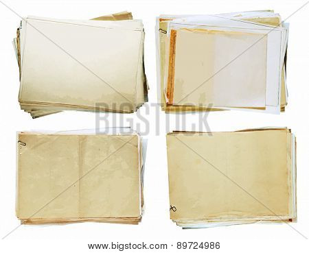 stacks of old papers set, vector