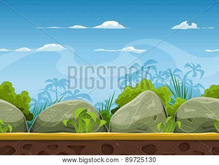 Seamless Tropical Beach Landscape For Ui Game