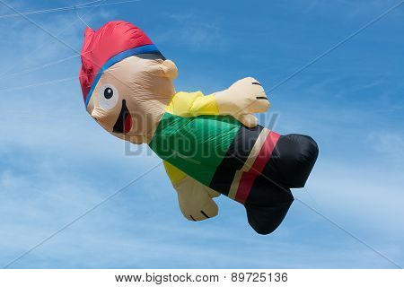 Blyth, Nothumberland, Uk: 04 May 2015. Large character kite In Flight At Blyth Kite Festival 2015