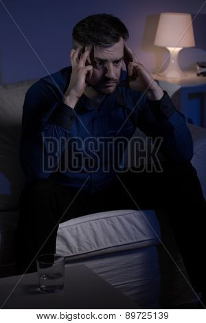 Thoughtful Man Suffering From Insomnia