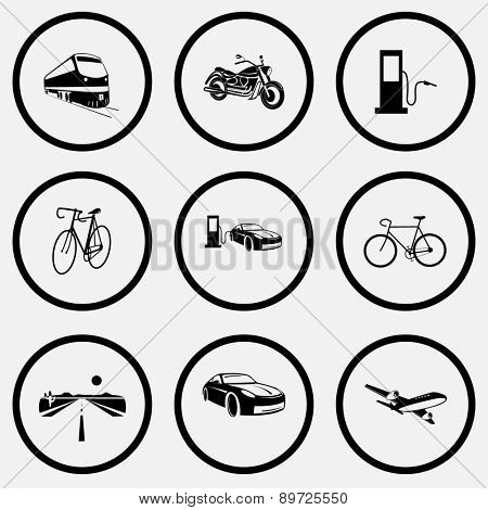 Transport set. Black and white set raster icons.