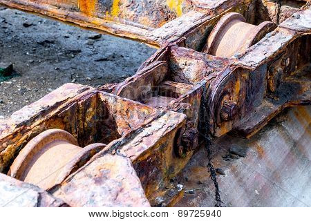 Rusty Machinery Of A Old Shipyard Ramp Disused