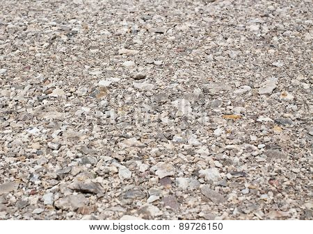 Background of gravel road, gray stone texture
