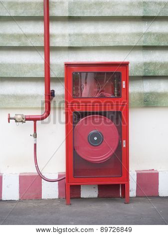 Hydrant With Water Hoses And Fire Extinguish Equipment