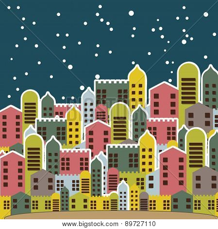 Old City In The Night  Vintage Style Vector Illustration