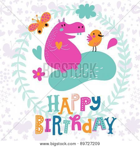 Lovely childish card with sweet hippopotamus and bird with butterfly in vector. Happy birthday invitation background in bright colors