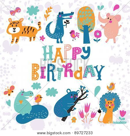 Sweet card with Crocodile, Elephant, Tiger, Hippopotamus, cute Koala and Lion in vector. Happy birthday invitation background in bright colors