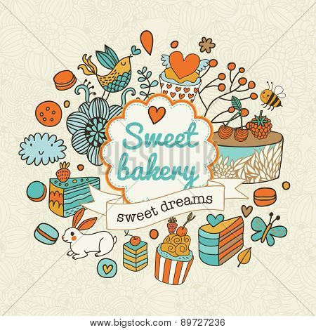 Sweet vector background with cakes, flowers, hearts, butterflies and birds. Lovely background in bright colors. Sweet bakery and dreams concept card