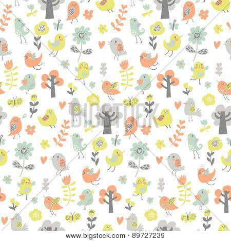 Lovely seamless pattern with cute birds and trees. Summer vector background in modern pastel colors. Seamless pattern can be used for wallpapers, pattern fills, web page backgrounds, surface textures.