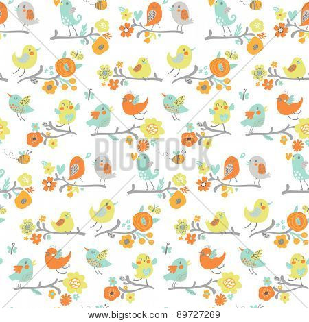 Sweet seamless pattern made of cute cartoon birds on branches. Lovely background in spring bright colors. Awesome clear design for summer advertisement