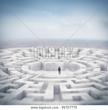 Businessman and huge maze. 3d rendering