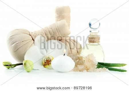 Composition with massage bags, sea salt and orchid flower, isolated on white