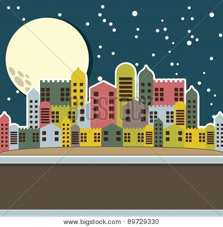 Cute Old City Vintage Style Vector Illustration
