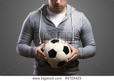 Sportsman with soccer ball