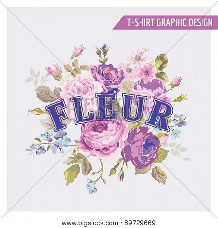 Floral Shabby Chic Graphic Design - for t-shirt, fashion, prints - in vector
