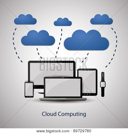 Cloud Computing Concept Design with Black, White and Blue Colors