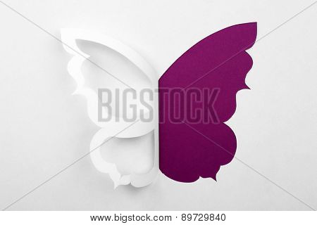 Cutout paper butterfly as greeting card
