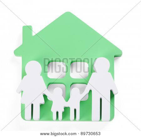 Toy house with family isolated on white