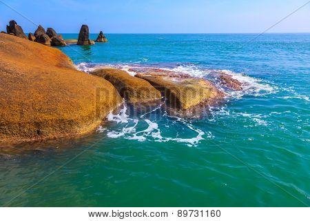 Huge smooth stones on the beach. Lamai Beach in Koh Samui