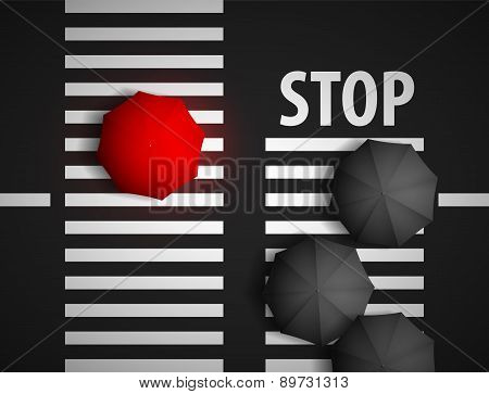 Red Umbrella And Black Umbrellas