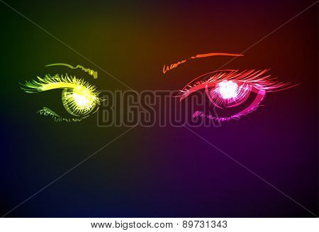 Vector Illustration. Women's Eyes. Neon Sketch.