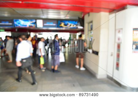 Blur Of Defocus Image Of People Buying Subway Train Ticket From Automatic Machine