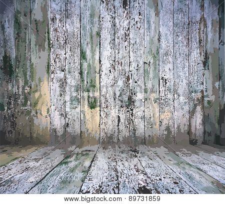 old wooden interior, vector