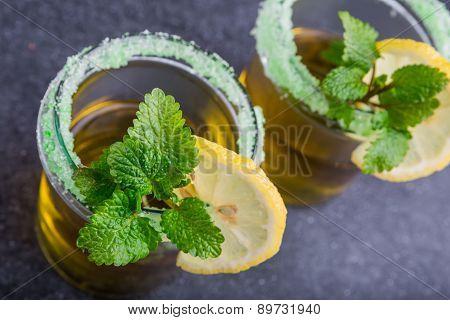 Herbal Tea With A Fresh Lemon Balm Leaves And Lemon