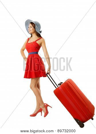 Woman Pulling Suitcase Baggage, Carry Luggage