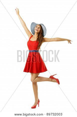 Woman In Red Dress Beach Hat Happy Going With Open Arms, Isolated White